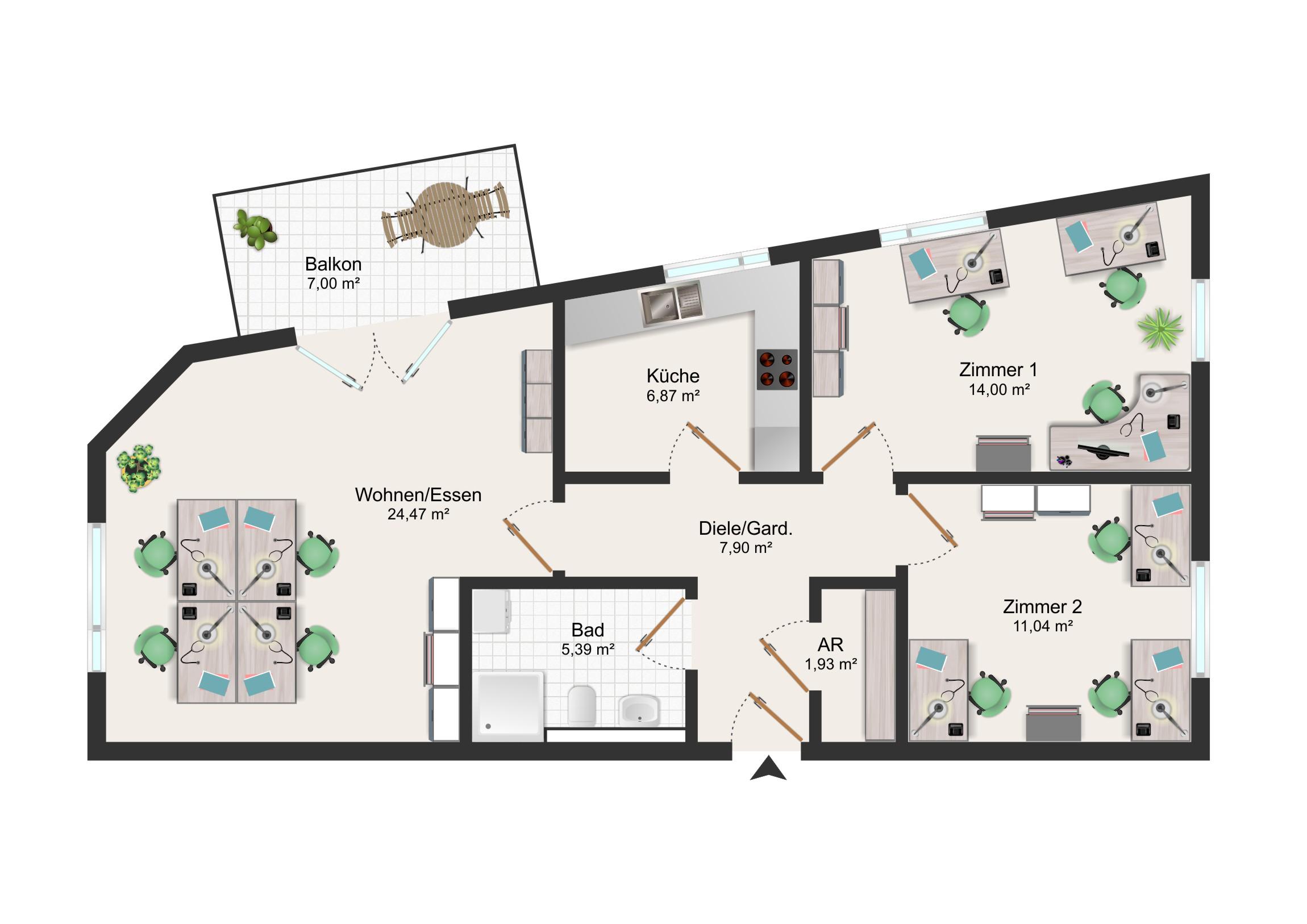 Vermietung von einer Gewerbeeinheit / ca. 74 m² / BÜRO / PRAXIS